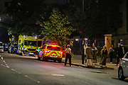 Police are investigating following a fatal stabbing in Islington's North Road N7, North London on Monday, Sept 14, 2020. A male at this stage believed to be a teenager - was found suffering from stab injuries MET Police say in a statement. The victim was treated by paramedics at the scene but despite their best efforts, he was pronounced dead. A crime scene is put at the place as a forensic unit is beginning their investigative work. Police said that officers are working to establish the male's identity and inform their next of kin. At this very early stage, there have been no arrests. (VXP Photo/ Vudi Xhymshiti)