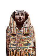 Ancient Egyptian wooden sarcophagus - the tomb of Tagiaset, Iuefdi & Harwa circa 25nd Dynasty (7th cent BC.) Thebes. Egyptian Museum, Turin. white background.<br /> <br /> Possibly the sarcophagus of the daughter of Tagiaset. There is a depiction of a wesekh collar around the neck. .<br /> <br /> If you prefer to buy from our ALAMY PHOTO LIBRARY  Collection visit : https://www.alamy.com/portfolio/paul-williams-funkystock/ancient-egyptian-art-artefacts.html  . Type -   Turin   - into the LOWER SEARCH WITHIN GALLERY box. Refine search by adding background colour, subject etc<br /> <br /> Visit our ANCIENT WORLD PHOTO COLLECTIONS for more photos to download or buy as wall art prints https://funkystock.photoshelter.com/gallery-collection/Ancient-World-Art-Antiquities-Historic-Sites-Pictures-Images-of/C00006u26yqSkDOM