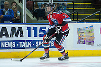 KELOWNA, CANADA - AUGUST 30: Kelowna Rockets prospect #27 Braydyn Chizen skates with the puck against the Kamloops Blazers on August 30, 2014 during pre-season at Prospera Place in Kelowna, British Columbia, Canada.   (Photo by Marissa Baecker/Shoot the Breeze)  *** Local Caption *** Braydyn Chizen;
