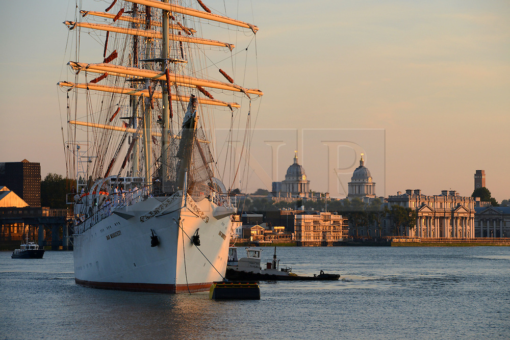 © Licensed to London News Pictures. 03/09/2014. London, England. Dar Mlodziezy arrives in Greenwich for the Royal Greenwich Tall Ships Festival 5-9 Sep. 2014. Photo credit : Mike King/LNP