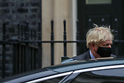 Britain's Prime Minister Boris Johnson wearing face mask leaves 10 Downing Street heading to the House of Commons for his weekly Prime Minister's Questions in London, Wednesday, Sept 30, 2020. On Wednesday MPs will be asked to renew emergency powers, originally passed in March, to tackle the pandemic. (VXP Photo/ Vudi Xhymshiti)