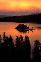 Fiery sunset at Emerald Bay on Lake Tahoe, CA