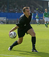 Photo: Andrew Unwin.<br />Northern Ireland v Azerbaijan. FIFA World Cup Qualifying match. 03/09/2005.<br />The referee, Dejan Stanisic, throws a ball off the pitch.