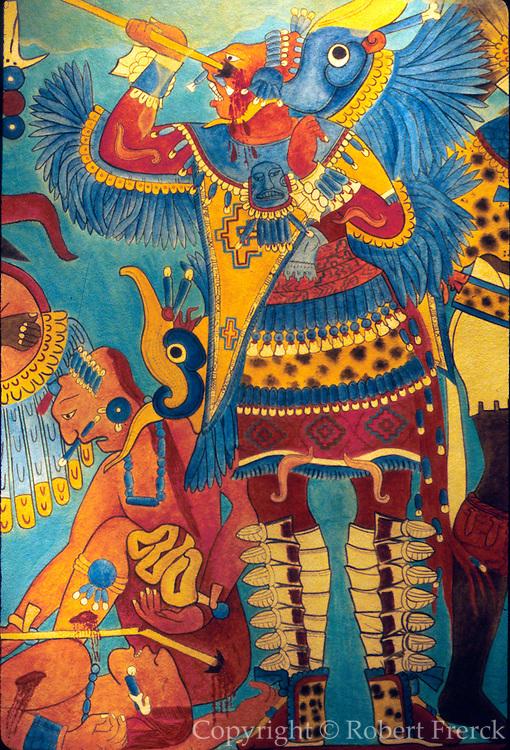 MEXICO, MEXICO CITY, MUSEUM Cacaxtla; 'Battle Mural' of warrior