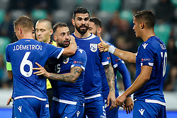 Players of Cyprus celebrates during football match between National Teams of Slovenia and Cyprus in Final Tournament of UEFA Nations League 2019, on October 16, 2018 in SRC Stozice, Ljubljana, Slovenia. Photo by  Morgan Kristan / Sportida