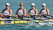 Banyoles, SPAIN, GBR W4X, Bow {R} Katie GREVES, Beth RODFORD, Anna BEBINGTON and Annie VERNON at the start of the Race for lanes in the Women's quadruple sculls  FISA World Cup Rd 1. Lake Banyoles  Saturday, 30/05/2009   [Mandatory Credit. Peter Spurrier/Intersport Images]