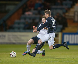 Dundee's James McAllister in on Falkirk's Blair Alston.<br /> Dundee 1 v 1 Falkirk, Scottish Championship game at Dundee's home ground Dens Park.<br /> ©Michael Schofield.