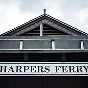 The sign on the train station at Harpers Ferry, West Virginia.