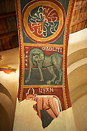 Twelfth century restored Romanesque Frescoes depicting mythical animals. The church of Saint Joan of Boi, Val de Boi, Alta Ribagorca, Pyranese, Spain. A UNESCO World Heritage Site .<br /> <br /> Visit our SPAIN HISTORIC PLACES PHOTO COLLECTIONS for more photos to download or buy as wall art prints https://funkystock.photoshelter.com/gallery-collection/Pictures-Images-of-Spain-Spanish-Historical-Archaeology-Sites-Museum-Antiquities/C0000EUVhLC3Nbgw <br /> .<br /> Visit our MEDIEVAL PHOTO COLLECTIONS for more   photos  to download or buy as prints https://funkystock.photoshelter.com/gallery-collection/Medieval-Middle-Ages-Historic-Places-Arcaeological-Sites-Pictures-Images-of/C0000B5ZA54_WD0s