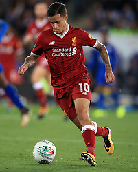 """Liverpool's Philippe Coutinho during the Carabao Cup, third round match at the King Power Stadium, Leicester. PRESS ASSOCIATION Photo. Picture date: Tuesday September 19, 2017. See PA story SOCCER Leicester. Photo credit should read: Mike Egerton/PA Wire. RESTRICTIONS: EDITORIAL USE ONLY No use with unauthorised audio, video, data, fixture lists, club/league logos or """"live"""" services. Online in-match use limited to 75 images, no video emulation. No use in betting, games or single club/league/player publications."""