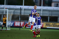 Jayden Stockley of Exeter city © celebrates after he scores his teams 1st goal to equalise at 1-1. EFL Skybet football league two match, Newport county v Exeter City  at Rodney Parade in Newport, South Wales on New Years Day, Monday 1st January 2018.<br /> pic by Andrew Orchard,  Andrew Orchard sports photography.