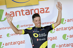 July 8, 2018 - La Roche-Sur-Yon, FRANCE - French Sylvain Chavanel of Direct energie receives the combativity award for the most aggressive rider, after the second stage of the 105th edition of the Tour de France cycling race, 182,5km from Mouilleron-Saint-Germain to La Roche-sur-Yon, France, Sunday 08 July 2018. This year's Tour de France takes place from July 7th to July 29th. BELGA PHOTO YORICK JANSENS (Credit Image: © Yorick Jansens/Belga via ZUMA Press)
