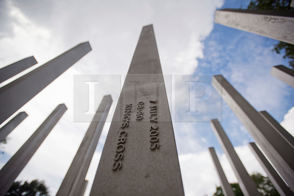 © London News Pictures. 07/07/2012. The memorial to the victims of the July 7, 2005 London bombings in Hyde Park on July 7, 2012 in London. Today marks the 5 year anniversary of the terrorist attacks by four suicide bombers on the London Underground and a bus in Tavistock Square which claimed the lives of 52 people.  Photo credit: Ben Cawthra/LNP.