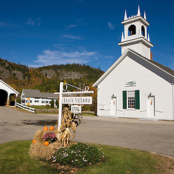Downtown Stark, New Hampshire.  Stark Union Church.  Covered Bridge.