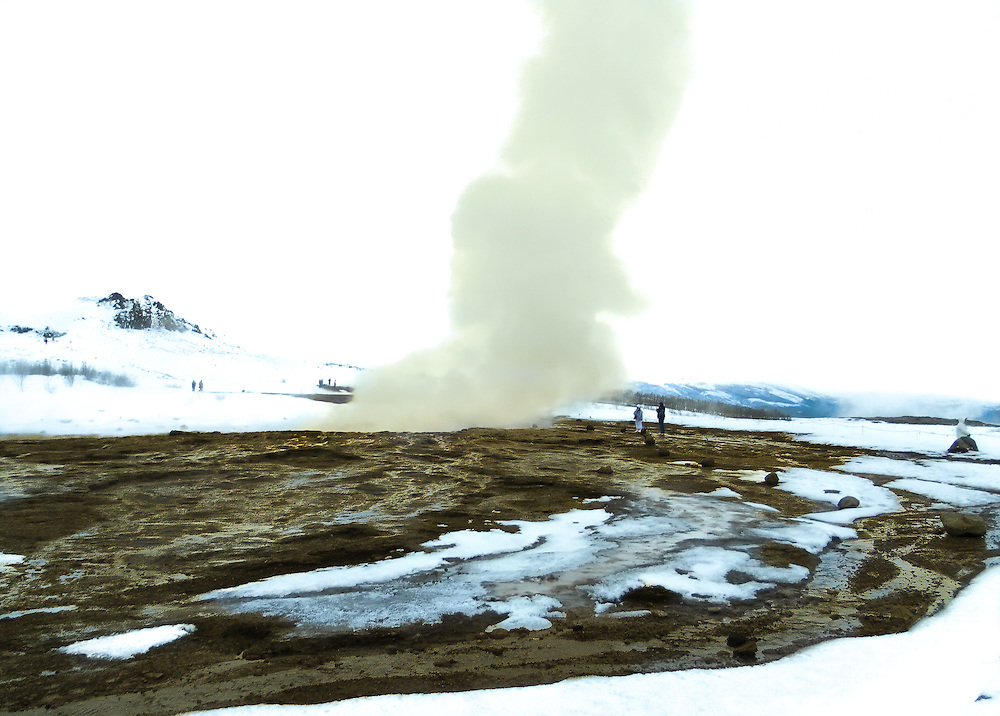 Strokkur is a fountain geyser located in a geothermal area beside the Hvítá River in Iceland in the southwest part of the country, east of Reykjavík. It is one of Iceland's most famous geysers, erupting once every 6–10 minutes.