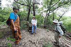 Hikers enjoying view from Piedmont Ridge, Great Trinity Forest, Dallas, Texas, USA