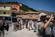 A group of geologists and few turists visiting the area of Castelluccio di Norcia before reaching Visso, a nearby village destroied by the earthquake.