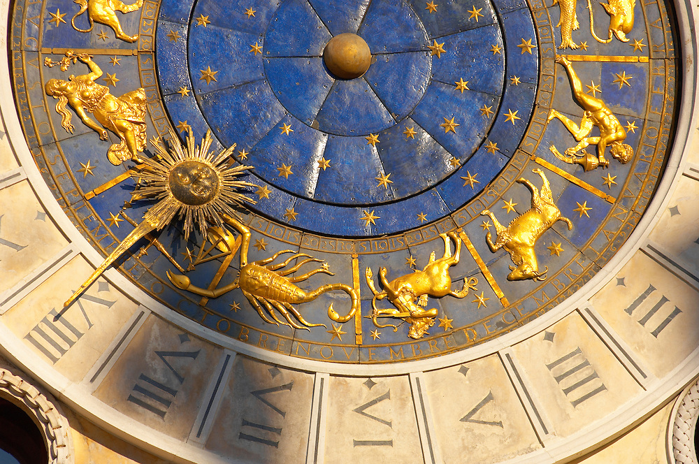 Close up of the clock face on the The Bell Tower - Saint Mark's Square  - Venice Italy .<br /> <br /> Visit our ITALY HISTORIC PLACES PHOTO COLLECTION for more   photos of Italy to download or buy as prints https://funkystock.photoshelter.com/gallery-collection/2b-Pictures-Images-of-Italy-Photos-of-Italian-Historic-Landmark-Sites/C0000qxA2zGFjd_k