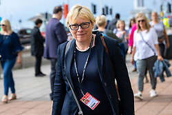 © Licensed to London News Pictures. 25/09/2021. Brighton, UK. ANGELA EAGLE outside the conference . The first day of the 2021 Labour Party Conference , which is taking place at the Brighton Centre . Photo credit: Joel Goodman/LNP