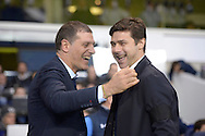 West Ham United manager Slaven Bilic and Mauricio Pochettino, the Tottenham Hotspur manager (r) share a joke before k/o. Barclays Premier league match, Tottenham Hotspur v West Ham Utd at White Hart Lane in London on Sunday 22nd November 2015.<br /> pic by John Patrick Fletcher, Andrew Orchard sports photography.