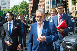 London, June 13th 2017. VIJAY MALLYA, co-owner of F1 team Sahara Force India and chairman of the UB Group, who is wanted in India on fraud allegations involving money laundering and high value bank demands leaves Westminster Magistrates Court in London following a brief a case management hearing ahead of his extradition trial.