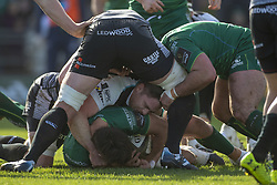 March 2, 2019 - Galway, Ireland - Jarrad Butler of Connacht with the ball during the Guinness PRO 14 match  between Connacht Rugby and Ospreys at the Sportsground in Galway, Ireland on March 2, 2019  (Credit Image: © Andrew Surma/NurPhoto via ZUMA Press)
