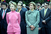 US First Lady Hillary Rodham Clinton stands with Nohra Pastrana, wife of Colombian President Andres Pastrana during the arrival ceremony on the South Lawn of the White House October 28, 1998 in Washington DC.