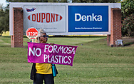 Gail LeBoeuf protesting with members of the Concerned Citiznes of St. John and the Coalition Agianst Death Alley in front of the Denka Plant on the fourth day of a march through Cancer Alley in front of the Denka plant .