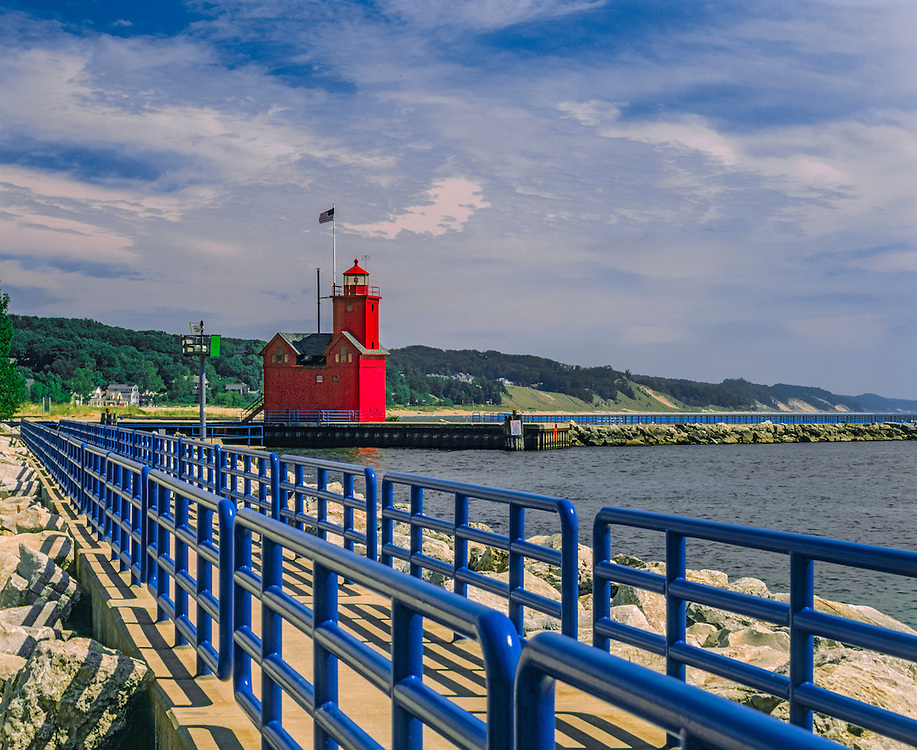Holland Harbor Lighthouse (Big Red), railings, rocks & dunes in summer, Holland, MI