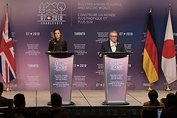 Canada's Minister of Public Safety Ralph Goodale and Canadian Minister of Foreign Affairs Chrystia Freeland address the media during a press briefing in Toronto, ON, Canada on Monday, April 23, 2018. Photo by Chris Young/CP/ABACAPRESS.COM