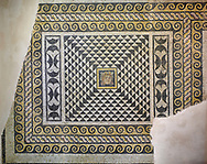 """Roman Dionysus mosaic from the house of Oceanos, Zeugma archaeological site. 2nd - 3rd century AD . Zeugma Mosaic Museum, Gaziantep, Turkey.<br /> <br /> This is the floor (base) mosaic of a room of House of Okeanos. This is among the first pieces of those that excavated from ancient Zeugma city and known for Dionysus Bust and """"meeting of Dionysus and Ariadne'. This mosaic is consisted of three panels. On the left side of this partly damaged art work, there has been the bust of god Dionysus. Through the white and black triangles around Dionysus, a virtual perspective had been created to get a focus on the figure. .<br /> <br /> If you prefer to buy from our ALAMY PHOTO LIBRARY  Collection visit : https://www.alamy.com/portfolio/paul-williams-funkystock/roman-mosaic.html - Type -   Zeugma   - into the LOWER SEARCH WITHIN GALLERY box. Refine search by adding background colour, place, museum etc<br /> <br /> Visit our ROMAN MOSAIC PHOTO COLLECTIONS for more photos to download  as wall art prints https://funkystock.photoshelter.com/gallery-collection/Roman-Mosaics-Art-Pictures-Images/C0000LcfNel7FpLI"""