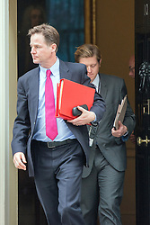 © Licensed to London News Pictures. 08/07/2014. Westminster, UK Deputy Prime Minister, Nick Clegg, leaving Downing Street with James Holt today 8th July 2014 after the weekly cabinet meeting. Photo credit : Stephen Simpson/LNP