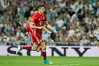 Robert Lewandowski of FC Bayern Munchen celebrates after scoring a goal during the match of Champions League between Real Madrid and FC Bayern Munchen at Santiago Bernabeu Stadium  in Madrid, Spain. April 18, 2017. (ALTERPHOTOS)