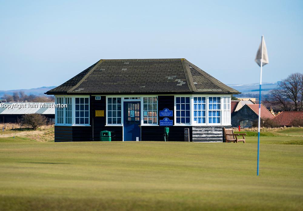 Starters hut at Gullane Golf Club in East Lothian, Scotland, united Kingdom