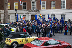 London, UK. 31 January, 2020. Pro-EU activists arrive at Europe House, home of the European Commission in London, following a procession from Downing Street on the occasion of Brexit Day.