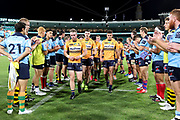 Ryan Lonergan and Tom Banks lead off the Brumbies. NSW Waratahs v ACT Brumbies. 2021 Super Rugby AU Round 7 Match. Played at Sydney Cricket Ground on Friday 2 April 2021. Photo Clay Cross / photosport.nz