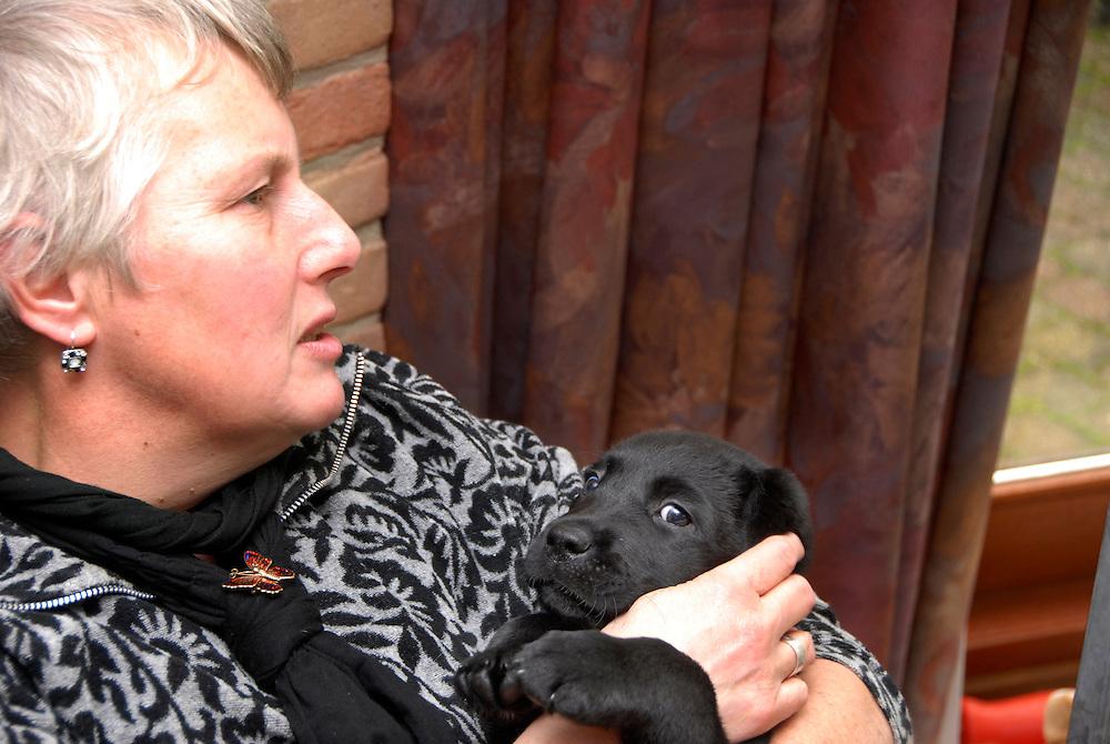 Amersfoort, 12 nov ,2009.Connie met puppie's die voor blinde geleide hond worden opgeleid..(c)Renee Teunis.