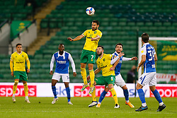 Lukas Rupp of Norwich City heads the ball - Mandatory by-line: Phil Chaplin/JMP - 20/10/2020 - FOOTBALL - Carrow Road - Norwich, England - Norwich City v Birmingham City - Sky Bet Championship