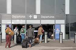 Departures terminal at Edinburgh International Airport, Lothian, Scotland, United Kingdom.