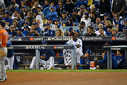 November 1, 2017 - California, United States - Los Angeles Dodgers right fielder Yasiel Puig #66 looks on in the 8th inning. Los Angeles Dodgers played the Houston Astros in game 7 of the World Series at Dodger Stadium in Los Angeles, CA 11/1/2017  (Credit Image: © John Mccopy/Los Angeles Daily News via ZUMA Wire)