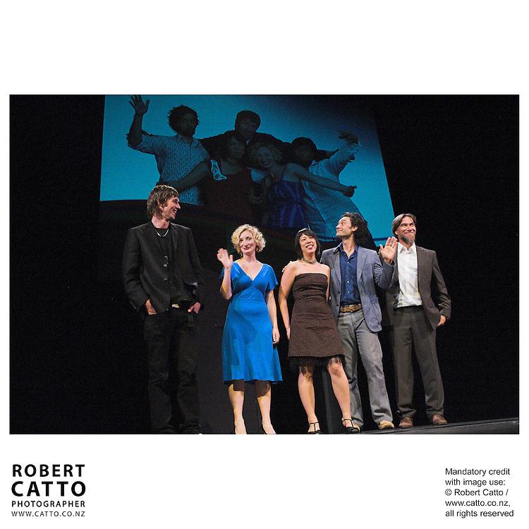 Joe Sheehan;Eve Armstrong;Tze Ming Mok;Taika Waititi;Warren Maxwell at the Arts Foundation of New Zealand New Generation Awards at the St James Theatre, Wellington, New Zealand.<br />