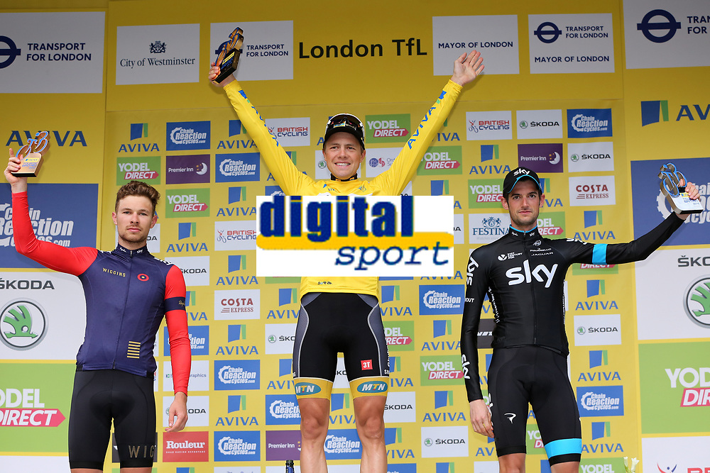 Celebration on podium  POELS Wouter(Ned)/ BOASSON HAGEN Edvald (Nor) Yellow Leader Jersey/ DOULL Owain (Gbr) during the 12th Tour of Britain 2015, Stage 8, London - London (86,8Km) on September 13, 2015 - Photo Tim De Waele / DPPI