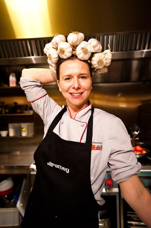 Agata Wojda in the Restaurant Opasly Tom Bistro