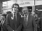 Opening of New Ogra Fianna Fail office on O'Connell St,Dublin.1982.30.01.1982.01.30.1982.30th January 1982..Image of Mr Aidan Eames,National Youth Organiser for Fianna Fail with Party Leader Mr Charles Haughey T.D.at the official opening of the office....