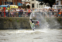 © Licensed to London News Pictures. 27/07/2013. Bristol, UK.  The Bristol Harbour Festival 2013, sponsored by GE.  Picture of Freestyle jet-skiing with 2012 European champion Joel Doorbar.  27 July 2013.<br /> Photo credit : Simon Chapman/LNP