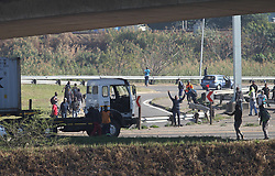 South Africa - Durban - 03 August 2020 - A truck driver abandones his trucks when he was under attack from fellow agrived truck drivers protesting over the employment of foreign drivers on N2 in Isipingo, South of Durban<br /> Picture: Doctor Ngcobo/African News Agency(ANA)