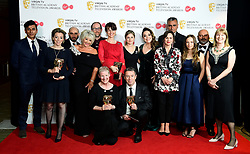 Winner of best Mini Series for Three Girls including Nicole Taylor, Philippa Lowthorpe, Susan Hogg and Simon Lewis in the press room at the Virgin TV British Academy Television Awards 2018 held at the Royal Festival Hall, Southbank Centre, London.