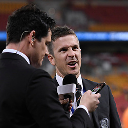 BRISBANE, AUSTRALIA - APRIL 21: Matt McKay of the Roar gives an interview  on Facebook Live before the Hyundai A-League Elimination Final match between the Brisbane Roar and Western Sydney Wanderers at Suncorp Stadium on April 21, 2017 in Brisbane, Australia. (Photo by Patrick Kearney/Brisbane Roar)