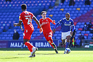 Cardiff City's Leandro Bacuna (7) under pressure from Nottingham Forest's James Garner (37) during the EFL Sky Bet Championship match between Cardiff City and Nottingham Forest at the Cardiff City Stadium, Cardiff, Wales on 2 April 2021.
