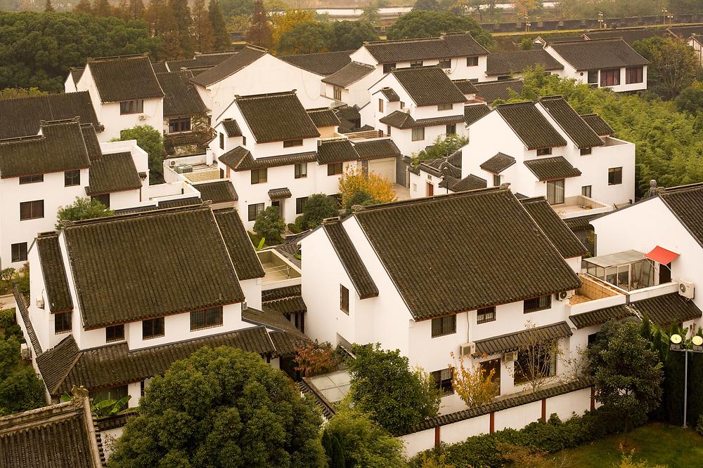 Suzhou, Jiangsu Province, China - Elevated view of traditional houses in a residential neighborhood in Suzhou.